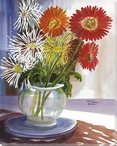 White Spider Mum Flowers Wrapped Canvas Giclee Print Wall Art