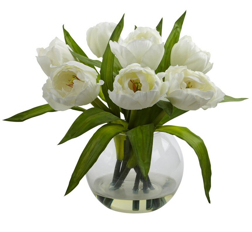 White Tulips Silk Flower Arrangement with Vase  Artificial Flowers  Silk Flowers