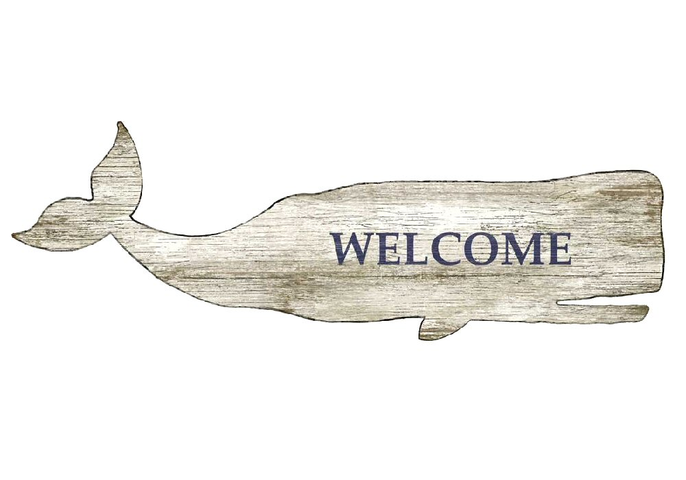 White Whale Wall Decor : White whale welcome vintage style cutout wooden sign