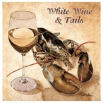 White Wine and Tails Beverage Coasters by Will Bullas, Set of 12