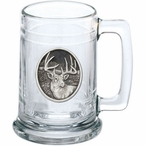 Whitetail Deer Glass Beer Mug with Pewter Accent