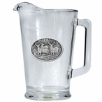 Whitetail Deer Glass Pitcher with Pewter Accent