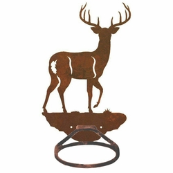 Whitetail Deer Metal Bath Towel Ring Towel Holder