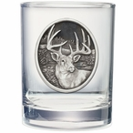Whitetail Deer Pewter Accent Double Old Fashion Glasses, Set of 2