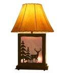 Whitetail Deer Scenic Metal Table Lamp with Night Light