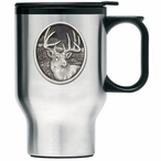 Whitetail Deer Stainless Steel Travel Mug with Handle & Pewter Accent