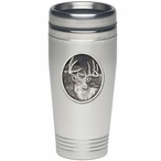 Whitetail Deer Stainless Steel Travel Mug with Pewter Accent