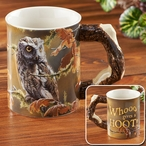 Who Gives a Hoot Owl Bird Sculpted Stoneware Coffee Mugs, Set of 6