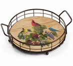 Wild Birds and Grapes Metal and Wood Serving Trays, Set of 2