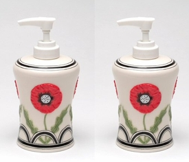 Wild Poppy Flower Soap Lotion Pump Dispenser, Set of 2