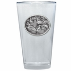 Wild Turkey Birds Pint Beer Glasses with Pewter Accent, Set of 2