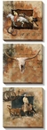 Wild West Cowboys Wrapped Canvas Giclee Print Wall Art, Set of 3