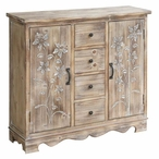 Willow Creek 4 Drawer with 2 Door Wood Cabinet with Floral Pattern