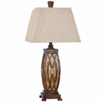 Willow Tree Branches Resin Table Lamp with Burlap Shade