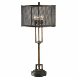 Winchester metal table lamp with wire mesh shade lighting winchester metal table lamp with wire mesh shade keyboard keysfo Image collections