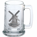 Wind Mill Glass Beer Mug with Pewter Accent