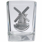 Wind Mill Pewter Accent Shot Glasses, Set of 4