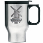 Wind Mill Stainless Steel Travel Mug with Handle and Pewter Accent