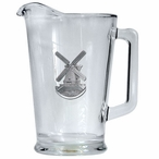 Windmill Glass Pitcher with Pewter Accent