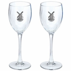 Windmill Pewter Accent Wine Glass Goblets, Set of 2