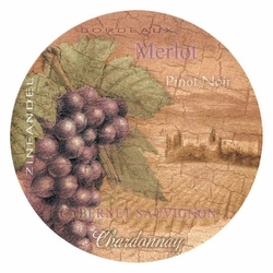 Wine country absorbent round beverage coasters set of 8 drink coasters thirstystone - Drink coasters absorbent ...