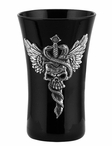 Winged Skull Pierced by a Knife with Snakes Shot Glasses, Set of 2