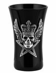 Winged Skull with Crown Sitting on a Pentagram Shot Glasses, Set of 2