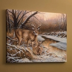 Winter Retreat Whitetail Deer Wrapped Canvas Giclee Print Wall Art