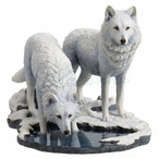Winter Warriors Two Wolves Sculpture by Lisa Parker