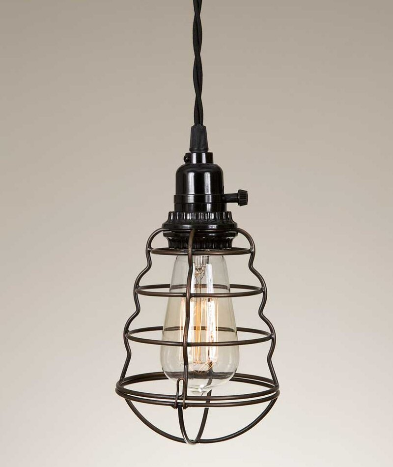 Pendant Light Bulb Wiring : Wire cage pendant lamp light lighting fixtures