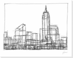 Wire Frame Cityscape I Wrapped Canvas Giclee Print Wall Art