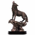 Wolf on Rock Statue - Copper Finish
