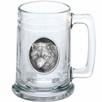 Wolf Oval Glass Beer Mug with Pewter Accent
