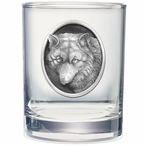 Wolf Oval Pewter Accent Double Old Fashion Glasses, Set of 2