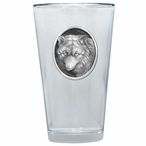 Wolf Oval Pint Beer Glasses with Pewter Accent, Set of 2