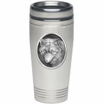 Wolf Oval Stainless Steel Travel Mug with Pewter Accent