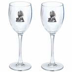 Wolf Pewter Accent Wine Glass Goblets, Set of 2