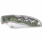 Wolves Green Stainless Steel Pocket Knife with Pewter Accent