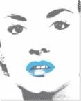 Woman with Bright Blue Lip Gloss Wrapped Canvas Giclee Print
