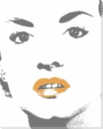 Woman with Bright Orange Lip Gloss Wrapped Canvas Giclee Print