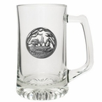 Wood Duck Glass Super Beer Mug with Pewter Accent