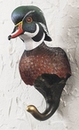 Wood Duck Hand Painted Sculpted Single Wall Hooks, Set of 3