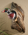 Wood Duck in Tree Hand Painted Wall Sculpture by Phil Galatas