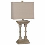 Wooden Column Resin Table Lamp with Oatmeal Linen Shade