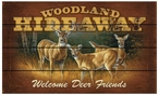 Woodland Hideaway Welcome Deer Friends Wood Sign