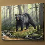 Woodland Morning Black Bear Wrapped Canvas Giclee Print Wall Art