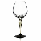 Woods Clear Green and Black Crystal White Wine Glass by Mats Jonasson