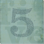 "Word Play ""Five"" Wrapped Canvas Giclee Print Wall Art"