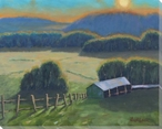 Yeary Farm Sunset Wrapped Canvas Giclee Art Print Wall Art
