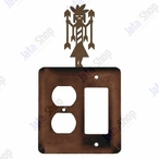 Yei Double Metal Outlet Cover with Single Rocker